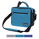 Insulated Lunch Box Reusable Lunch Bag for Kids Men Women, Sturdy & Spacious Lunchbox with Multi-Pockets, Detachable Buckle Handle and Shoulder Strap for Boy Girl Adult, Peacock Blue