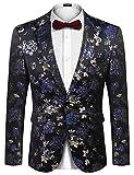 COOFANDY Mens Floral Tuxedo Jackets Paisley One Button Stylish Dinner Jacket Wedding Party Dress Suit Blazers Jacket Blue