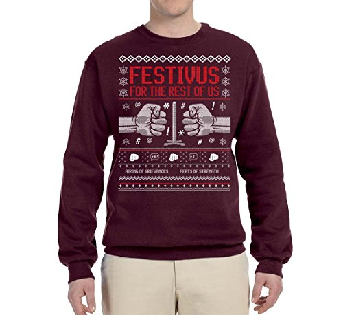 Wild Bobby Festivus for The Rest of Us | Mens Ugly Christmas Sweater Crewneck Graphic Sweatshirt, Maroon, 2XL