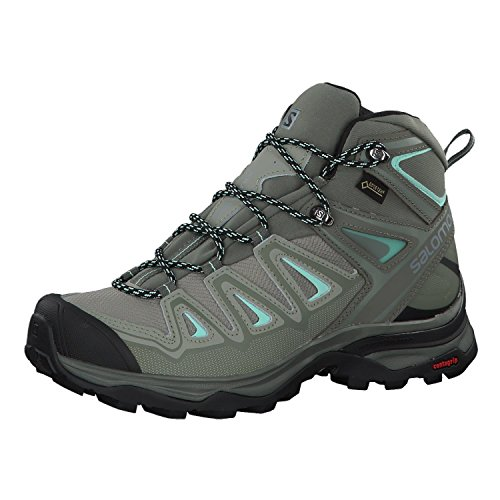 Salomon X Ultra 3 Mid GTX W, Chaussures de Randonnée Hautes Femme, Gris (Shadow/Castor Gray/Beach Glass 000), 42 2/3 EU