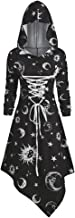 Leomodo Skull Sun and Moon Lace Up Halloween Hooded Dress
