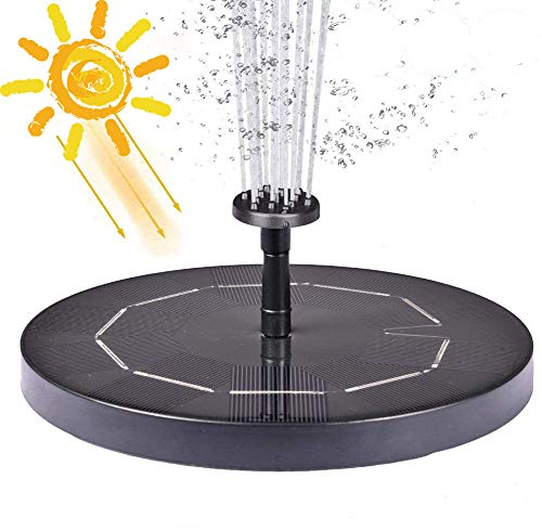 2020 Upgraded 3.5W solar Fountain Pump for Bird Bath with 1200mAh Battery Backup, Free-Standing Portable Floating Solar Powered Water Fountain Pump for Garden Backyard Pond Pool Outdoor(Black)