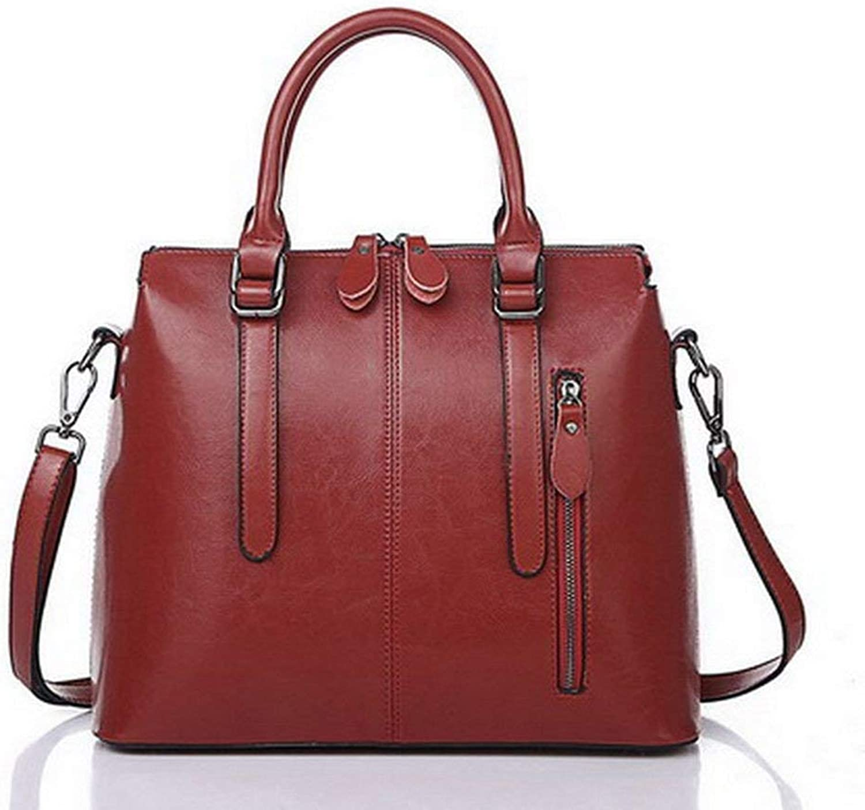 Evening Bag Luxury Women Handbag Oil Wax Leather Large Capacity Casual Female Bag Pillow Zipper Soft Casual TopHandle Ladies Bolsos women Party Handbag (color   Royalbluee, Size   33 x 13 x 27 cm)