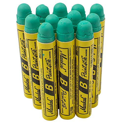 12 Pc Box Green Markal B Paintstiks Crayon Marks Water Oil Dirt Extreme Temp Paint Stick Chalk for Auto Tire Construction Fabric Lumber AutoAndArt