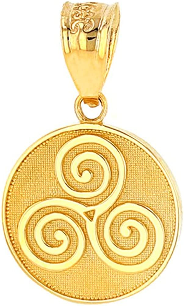 Solid 14k Yellow Gold Celtic Triple Spiral Triskele Round Charm Pendant