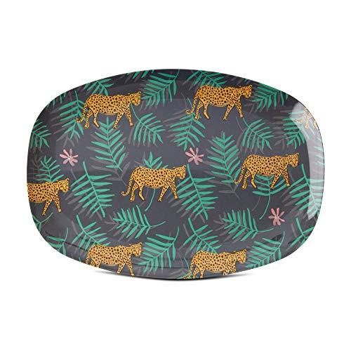 Rice Melamin Servierplatte Tablett Teller mit Leoparden Palm Muster - 30 x 22 cm