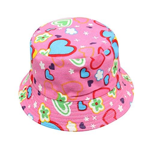 Chapeau Fille, Covermason Bébé Filles garçons Tout-Petit des Gamins Soleil Casquette Été Soleil Plage Chapeau extérieur Chapeau en Coton de Plage (Hot Pink -14)