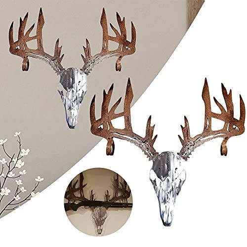 Arco de calavera de ciervo de metal o estante de escopeta, escultura de arte de pared de artista de hombro de alce extraño, decoración de estante de arco de arte de pared de metal oxidado 30x2
