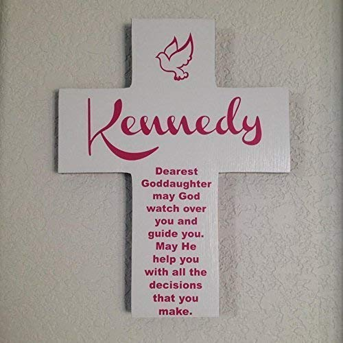 Goddaughter personalize wood cross/Dove and poem - Great gift for first communion,Easter Baptism or special day. Gift for girl and Handmade in the USA