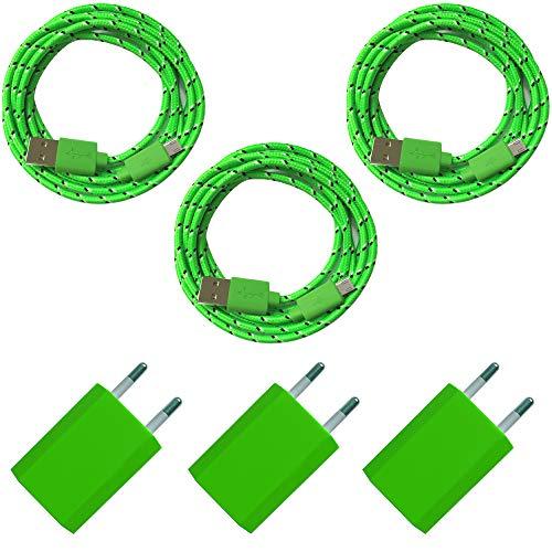 3X USB-adapter 5V/1A + 3X nylon micro-USB-oplaadkabel datakabel lader set voor mobiele telefoon smartphone tablet - kleurrijk 2m groen