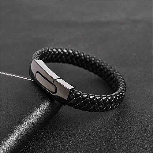 JYHW gevlochten leren armband prachtige zwart roestvrij staal magnetische gesp Bangles voor mannen sieraden partij geschenken 18,5 cm 1 Zwart, 1 zwart