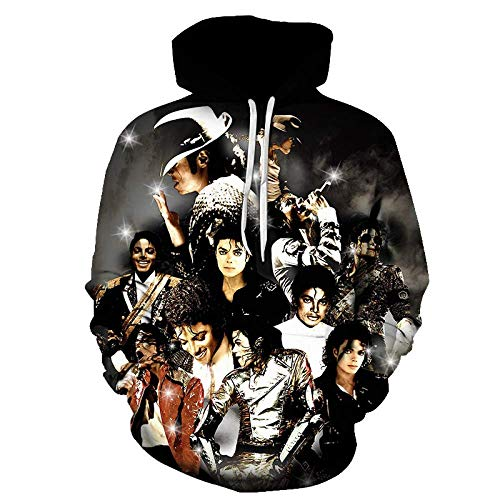 KJYAYA 3D Gedruckte Hoodies Mann Mode Sweatshirt Michael Jackson Unisex Langarm Hoodies Street Rock Hip Hop Kostüm