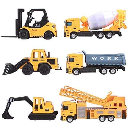 deAO Camiones de Construccion Escala 1:64 Vehiculos de Obras Multifuncionales Diseño y Movimientos Realistas (Pack de 6)