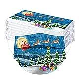 skiyy 10/50pcs 3-Layer Adult Towel Protection Christmas Paquete de Mezcla de impresión navideña para Actividades al Aire Libre Fiesta Escolar con elástico (D-5, 17.5X9.5cm)