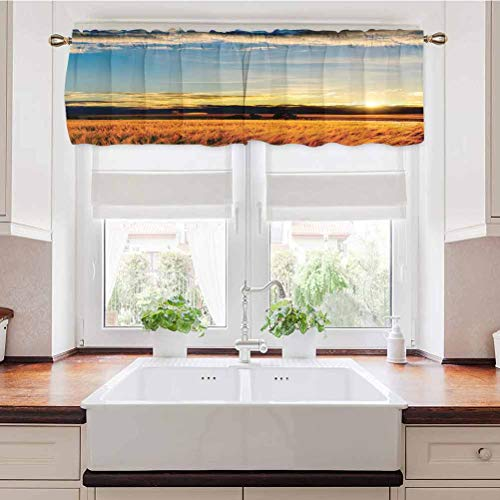 Adorise Window Curtains Gold Barley in Sunset Sunlights on Flora Shadows of Clouds Rural Energy Saving Window Curtain Valance for Kitchen Farmhouse 42 x 18 Inch
