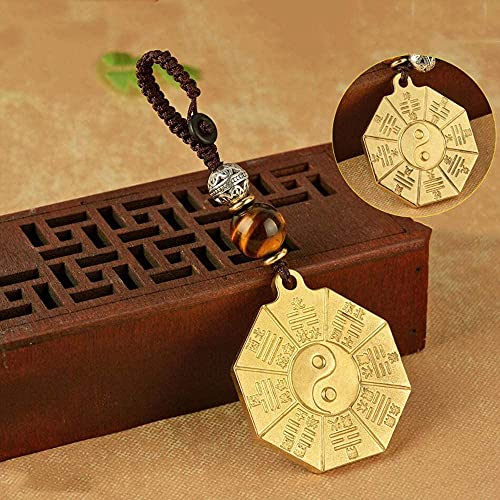 EIERFSKIOT Chinesische Feng Shui Bagua Spiegel Ornament Tai Chi Klatschspiegel Fünf Kaiser Geld Kupfer Geld Schlüsselanhänger Schlüsselanhänger Anhänger Ornament(Color:B)