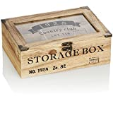 com-four® Caja de almacenaje de bolsitas de té rústicas - Caja de té en Estilo de casa de Campo...