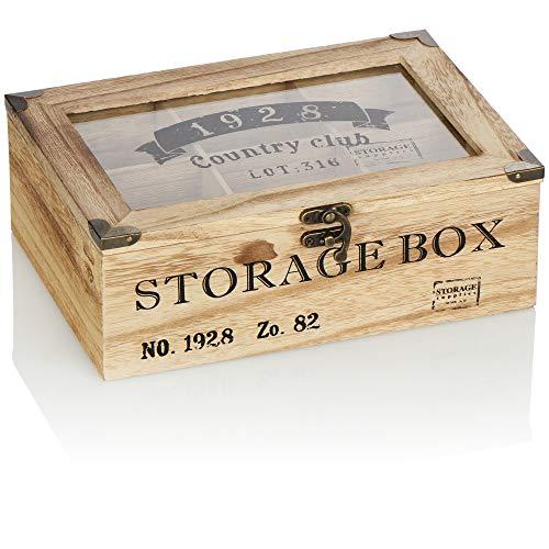 com-four® Caja de almacenaje de bolsitas de té rústicas -