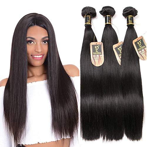 Yavida 8A Brazilian Straight Bundles 100% Unprocessed Remy Hair Bundles 14 12 10 Brazilian Virgin Hair Bundles Straight Raw Brazilian Hair Bundles