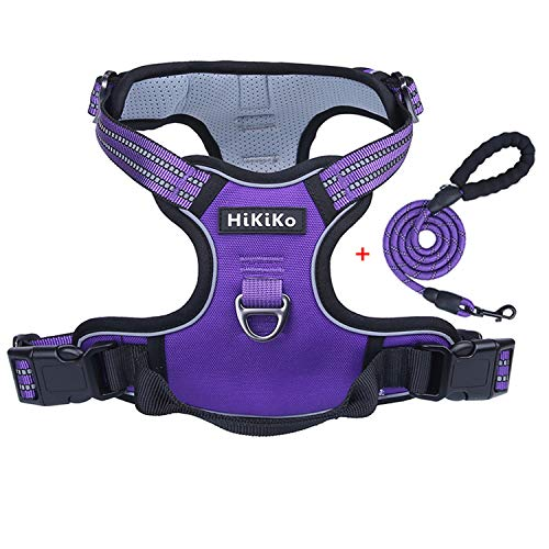 Hikiko Dog Harness and Leash Set,Adjustable Reflective Breathable Oxford Soft Vest Easy to Control Suitable Outdoor Walking for Small Medium and Large Dogs,Purple(L,Chest 22-30