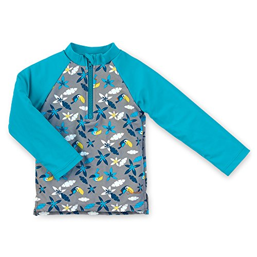 Sterntaler Langarm-Schwimmshirt, rauchgrau, 74/80 Camiseta de natación, Gris/Turquesa, 74/80 cm Unisex bebé