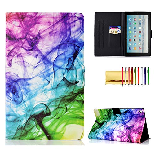 Case for Amazon Fire HD 10 Tablet (2015/2017/2019), Techcircle Slim Folding Stand Magnetic Smart Cover Soft TPU Back Protective Case for All-New Fire HD 10 5th/7th/9th Gen, Auto Sleep, Colored Mist