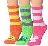 Tipi Toe Women's 3-Pairs Novelty Animal Anti-Skid Soft Fuzzy Crew Socks, (sock size 9-11) Fits shoe size 6-9, FZ14-A