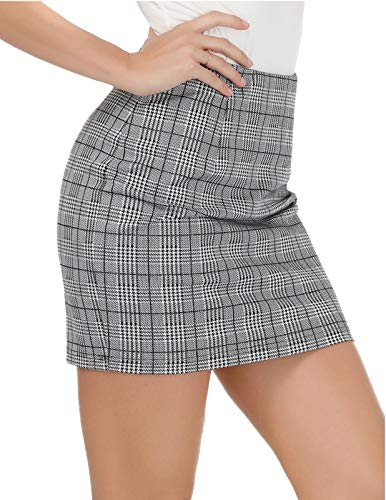 Kate Kasin Womens Mini Pencil Skirt Stretchy Plaid Skirt,Grey Size M