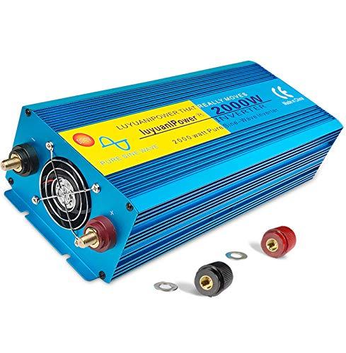 Inversor De Corriente Para Coche Inversor De Onda Sinusoidal Pura 2000W / 4000W Inversor De Potencia Máxima 12V DC a 230V / 240V AC Convertidor Con Enchufe Universal