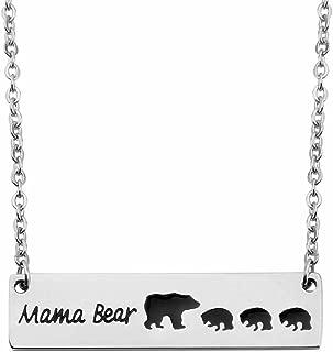 KUIYAI Sweet Family Mama and Baby Bear Necklace Bracelet Bangle Gift for Mothers