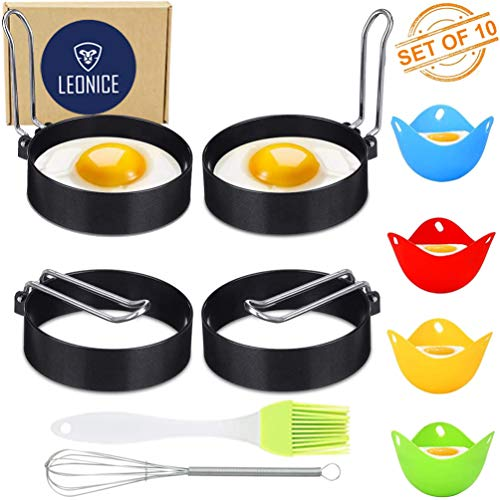 LEONICE Egg rings For Frying Egg Mcmuffins Round Fried Egg Cooker Ring Silicone Egg Poaching Cups Nonstick Egg Molds(set of 10)