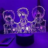 Lámpara de anime acrílico mesa 3D ataque a Titan figura equipo para decoración del hogar habitación luz niño regalo cumpleaños noche luces control remoto