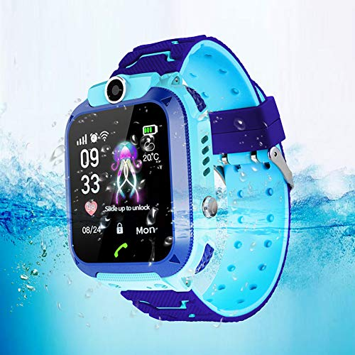 TAKE FANS Niños GPS Reloj Inteligente Teléfono Para Niños Niñas Reloj de Posicionamiento Inteligente Impermeable 1.4 'Pantalla a color Smartwatch (Azul)