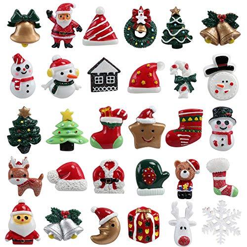 Kesote 30 Pezzi di Mini Decorazione Natalizia Miniatura di Resina di Natale Babbo Natale, Sonaglio, Albero di Natale, Pupazzo di Neve, Decorazioni di Regalo, Pacco, Biglietti d'Auguri