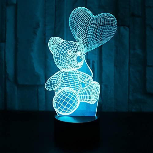 Luz nocturna 3D LED con forma de globo y oso con 7 colores de luz para decoración, sorprendente visualización óptica Awesome 7 colores al tacto