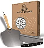 Aluminum Pizza Peel 12x14 inch with foldable wood handle for easy storage | the Paddle came with a 14' Rocker Cutter to offer a complete solution for your Home made Pizza Bread or Pastry by Q's INN.