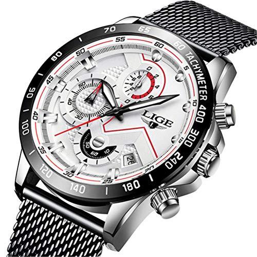Uhren Herren Luxus Edelstahl Mesh Band Chronograph Quarz Uhr Schwarz Männer Datum Kalender Wasserdicht Multifunktions Armbanduhr Schwarzes Gold