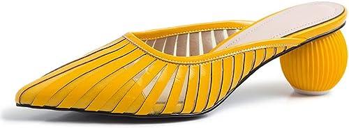 XLY La Mode des Femmes a souligné Le GlisseHommest sur des Mules, Chaussures habillées Creuses de Pantoufles sans Dos décontractées,jaune,37