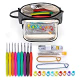 Teamoy Crochet Hook Set with Storage Bag, Crochet Kits with 9pcs 2mm-6mm Ergonomic Soft Grip Crochet Hooks and Accessories, Gray