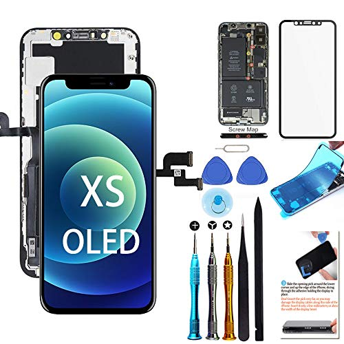 for iPhone Xs Screen Replacement OLED 5.8 inch [NOT LCD] Touch Screen Display Digitizer Repair Kit Assembly with Complete Repair Tools and Screen Protector [Brighter Version]