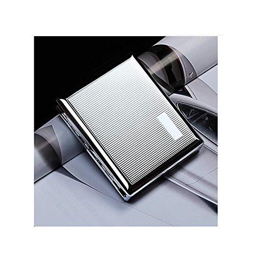 CLJ-LJ Caso de Cigarrillos 20 Palos, Metal del Acero Inoxidable de los Hombres de Cigarrillos Caja, cálido y rollizo (Color: Plata, Tamaño: 9.4 * 8.2 * 1.7cm)