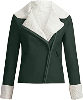 Women Lapel Suede Leather Buckle Cool Jacket Faux Wool Motorcycle Cropped Coat
