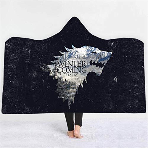 TAGEXZ Tagesdecken Game of Thrones Gedruckte Decke Mit Kapuze Weiches, Warmes Schlafsofa Reise-Picknick Tragbare Decke (A) 150 * 200 cm