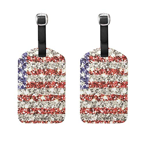 Set of 2 Luggage Tags America Sparkling Flag Suitcase Labels Travel Accessories