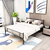 Bed Frame Metal Queen Size with Headboard and Footboard Single Platform Mattress Base,Metal Tube and Iron-Art Bed (Queen, Black)