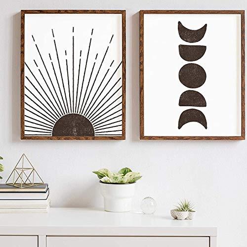 Estilo nórdico 2 piezas de 60x80 cm sin marco nórdico blanco y negro sol y fase de la luna arte de la pared decoración de la sala de estar medieval cuadros de pintura