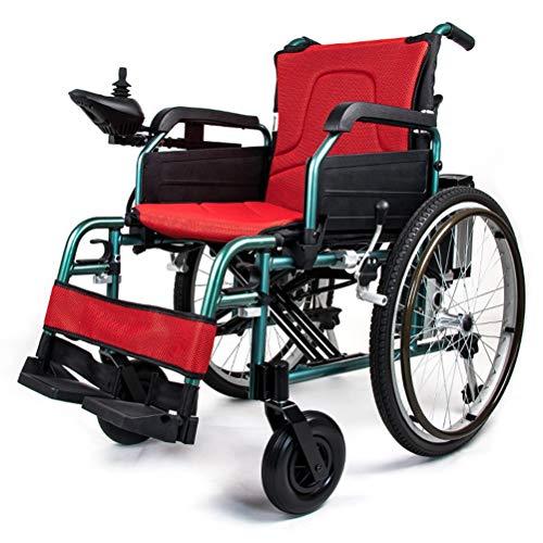QZDDLY Vollautomatische Faltbare Elektro-Rollstuhl, Mobil Scooter geeignet for ältere Menschen mit eingeschränkter Mobilität, 24-Zoll-Speichenrad Rollstuhl