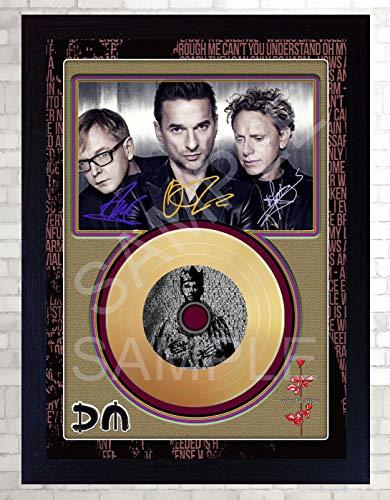SGH SERVICES Depeche Mode Enjoy The Silence Mini Gold Vinyl CD CD signiert gerahmt