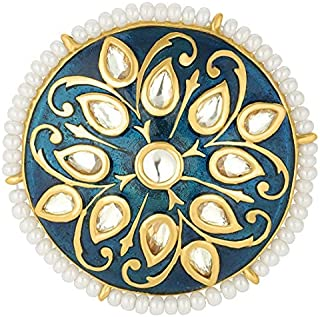Aheli Indian Traditional Stone Studded Enamel Finger Ring Adjustable Wedding Party Fashion Jewelry for Women Teen Girls