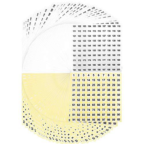 10000 Piccoli Adesivi Numeri Adesivi Rotondi Adesivi Piccoli Etichette Magazzino Stoccaggio Adesivi Impermeabili (50 Fogli Fondo Giallo, 50 Fogli Bianchi)